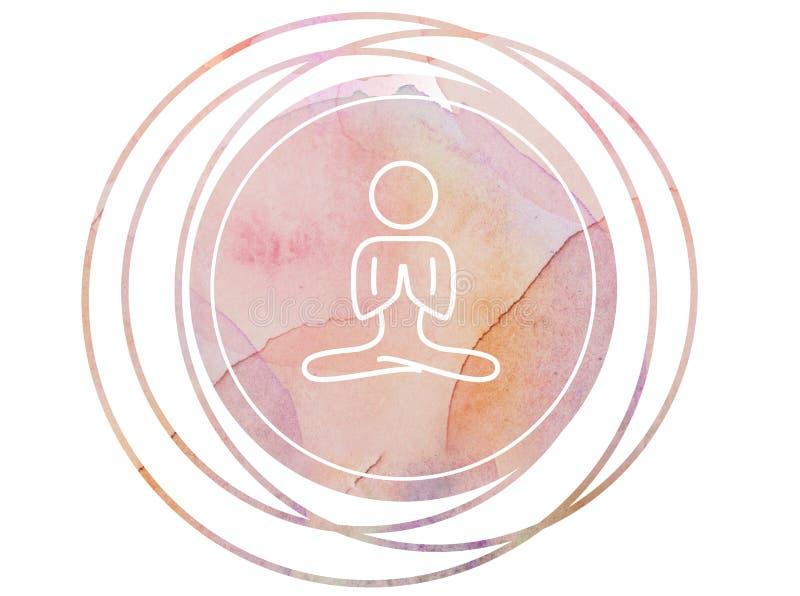 Símbolo circular de la meditación de la mandala de la acuarela imágenes de archivo libres de regalías
