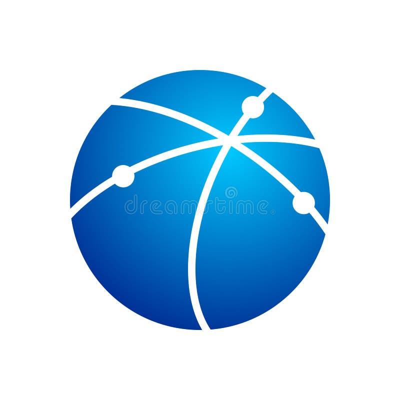 Símbolo circular nervoso Logo Design do trajeto de comunicação de Techno ilustração royalty free