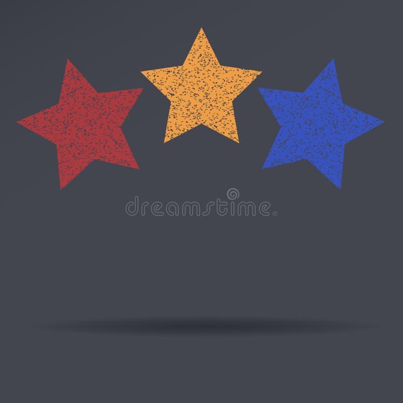 Símbolo clássico das estrelas douradas, vermelhas, e azuis com sombra Engrena o ícone ilustração do vetor