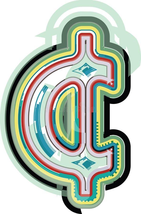 Símbolo colorido abstrato do centavo ilustração royalty free