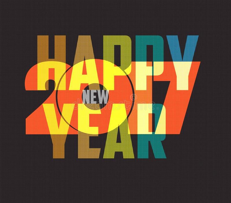 Símbolo colorido de la Feliz Año Nuevo 2017 Tipografía del diseño del calendario stock de ilustración
