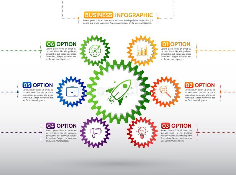 Símbolo colorido del engranaje con número, los iconos y el texto de información ilustración del vector