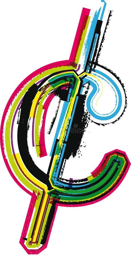 Símbolo colorido do centavo do Grunge ilustração royalty free