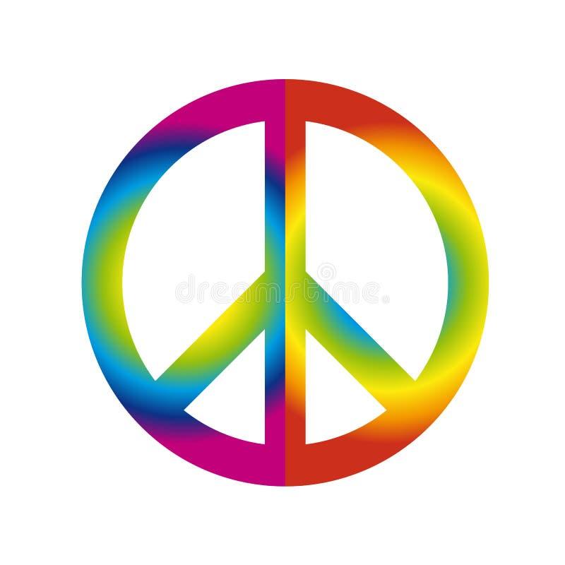 Símbolo colorido do sinal de paz nas cores do arco-íris isoladas no fundo branco ilustração stock