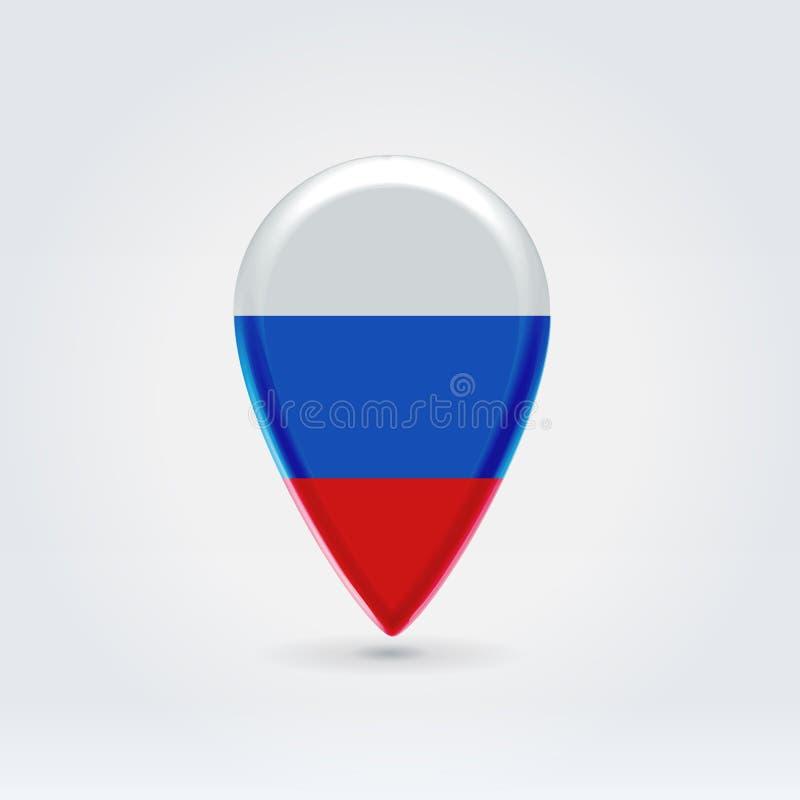 Símbolo colorido lustroso da etiqueta do ponto da aplicação do mapa do russo que pendura sobre o fundo iluminado ilustração stock