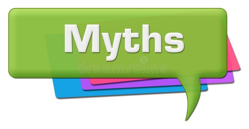 Símbolo colorido verde del comentario de los mitos stock de ilustración