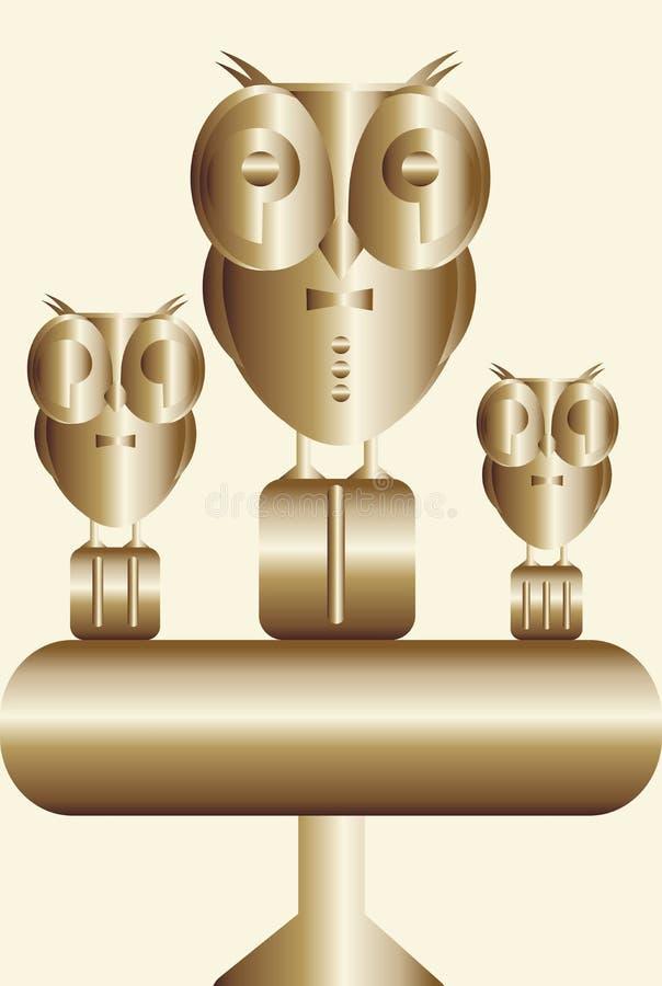 Símbolo com as corujas nos lugares premiados ilustração royalty free