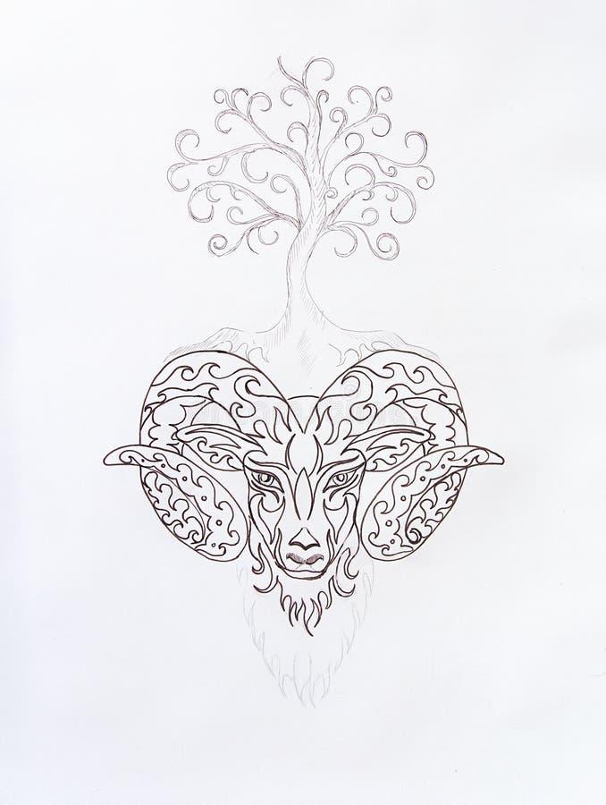 Símbolo com uma árvore, desenho decorativo linear simbólico do Áries ilustração royalty free