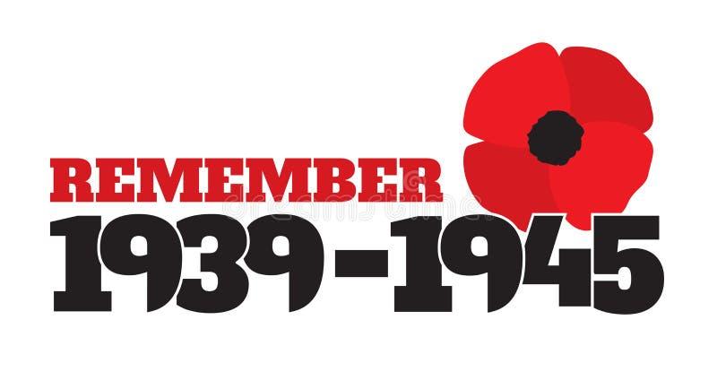 Símbolo comemorativo da segunda guerra mundial com datas, papoilas ilustração stock