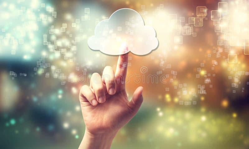 Símbolo computacional de la nube que es presionado a mano imágenes de archivo libres de regalías