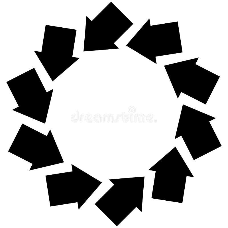 Símbolo concêntrico das setas para ilustrar a rotação, rotação, torsi ilustração stock