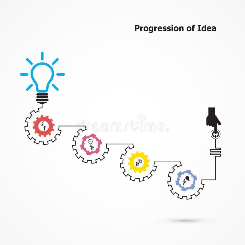 Símbolo creativo de la bombilla con linear de la forma del engranaje Progressio libre illustration