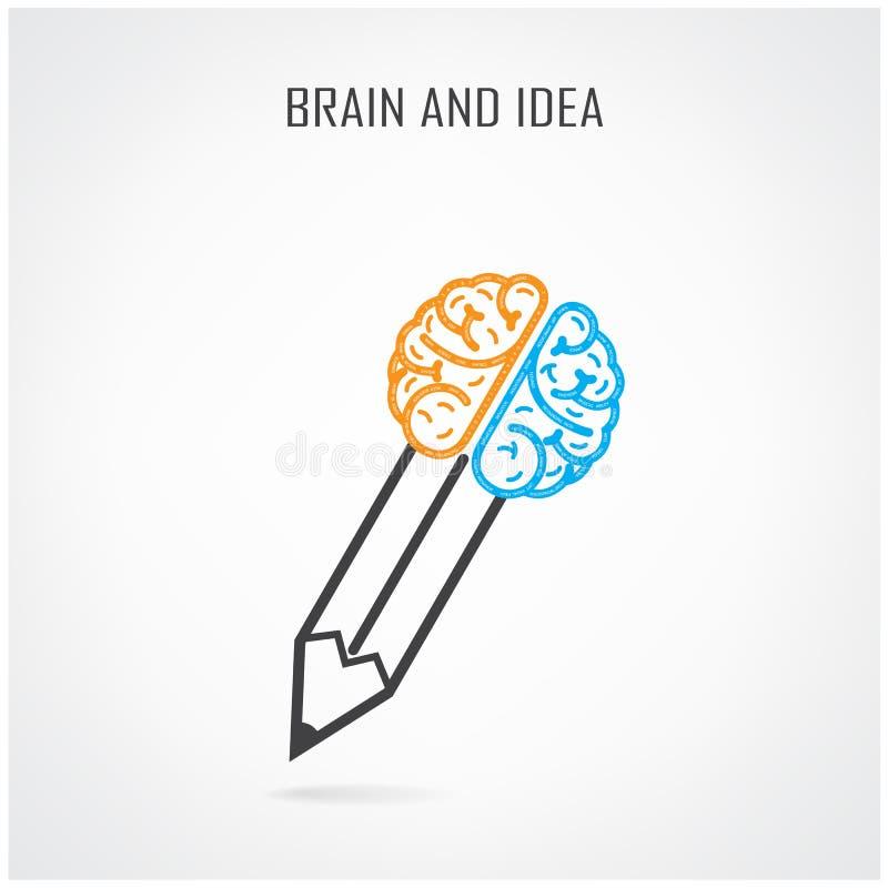 Símbolo creativo del cerebro derecho e izquierdo y del lápiz stock de ilustración