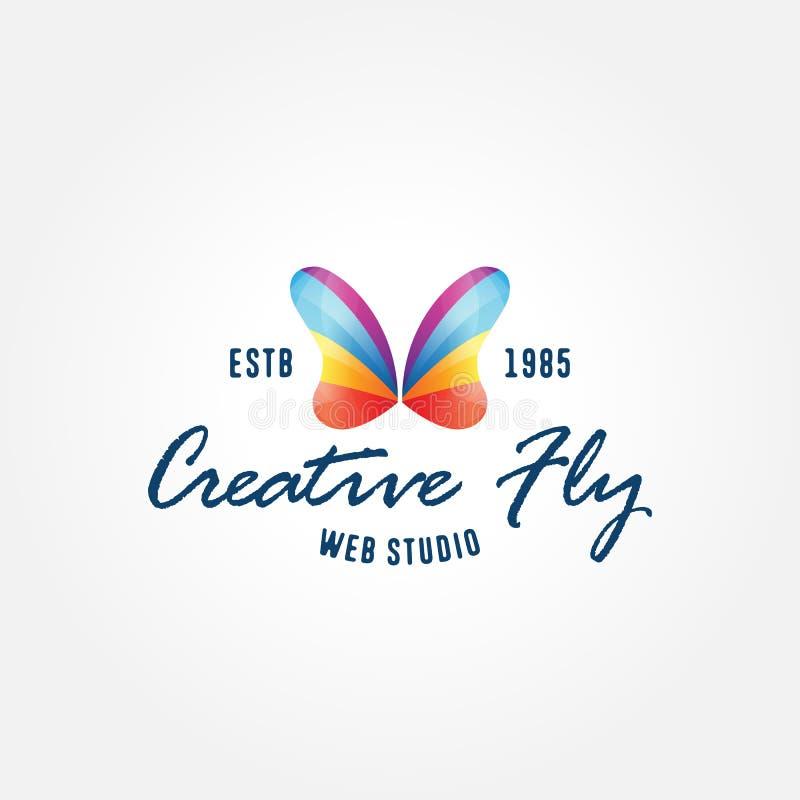 Símbolo criativo da borboleta colorida, molde do logotipo ilustração royalty free