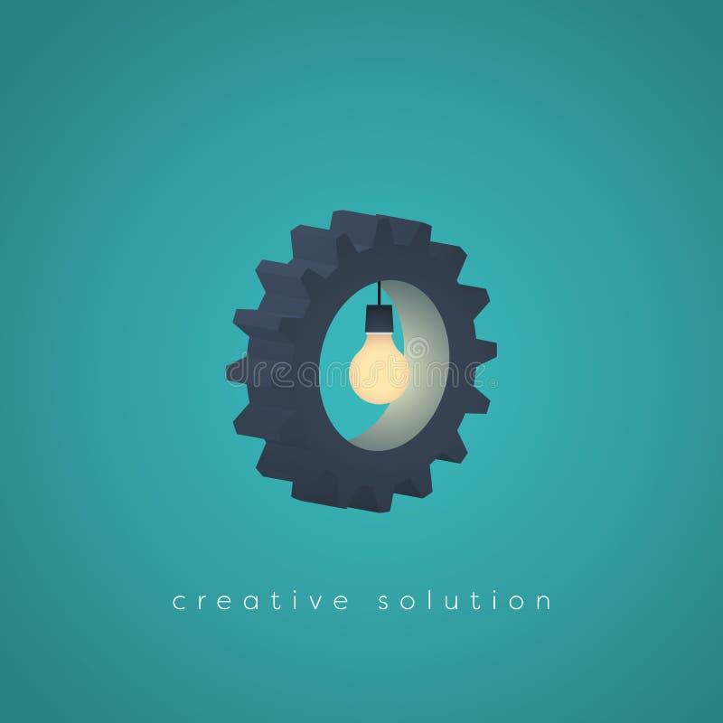 Símbolo criativo do vetor do negócio da solução com engrenagem e uma ampola conceito para a faculdade criadora, tecnologia, proje ilustração stock