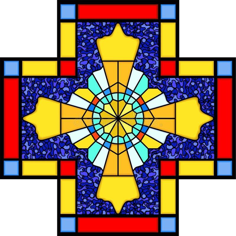 Símbolo cristão no vidro manchado ilustração do vetor