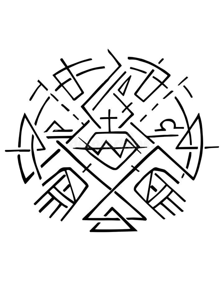 Símbolo cristiano de Jesus Sacred Heart y de manos ilustración del vector