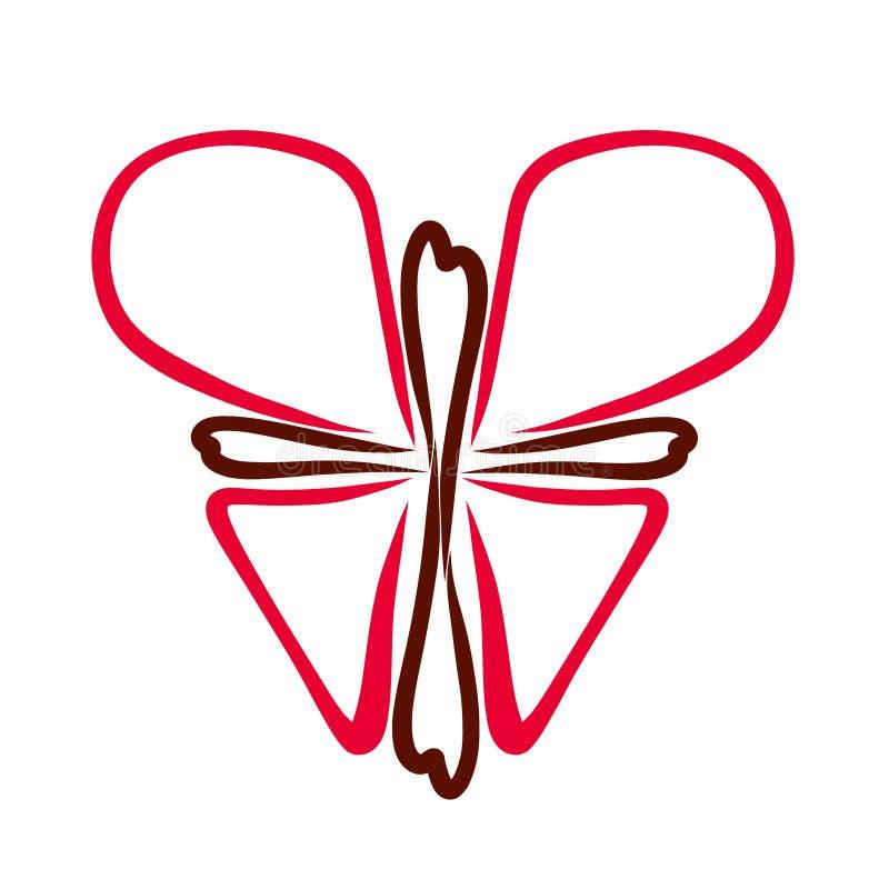 Símbolo cristiano, mariposa de la cruz y corazón ilustración del vector
