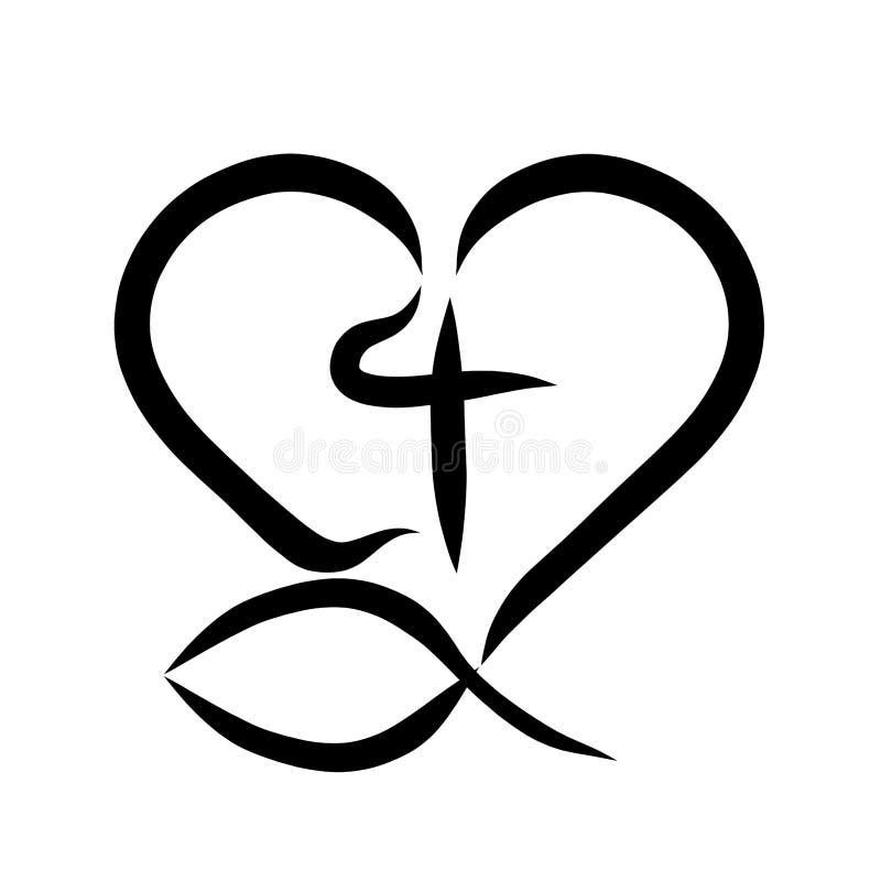Símbolo cristiano, pescados, cruz y corazón ilustración del vector