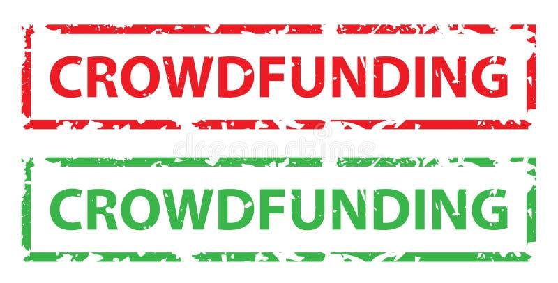 Símbolo crowdfunding isolado do vetor dos selos ilustração royalty free