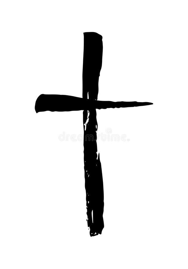 Símbolo cruzado cristiano dibujado mano stock de ilustración