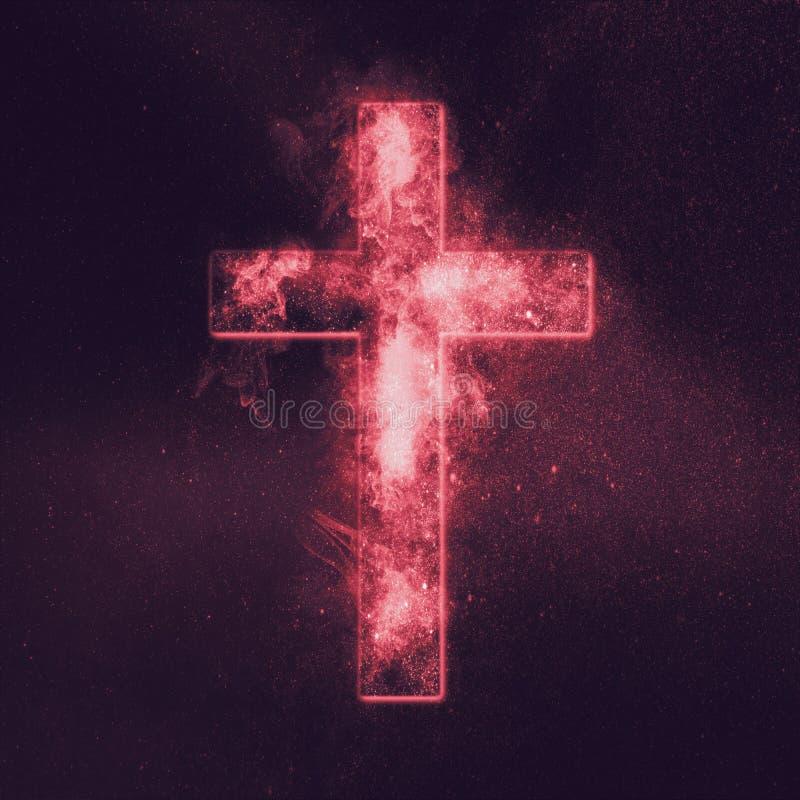 Símbolo cruzado cristiano Fondo abstracto del cielo nocturno stock de ilustración