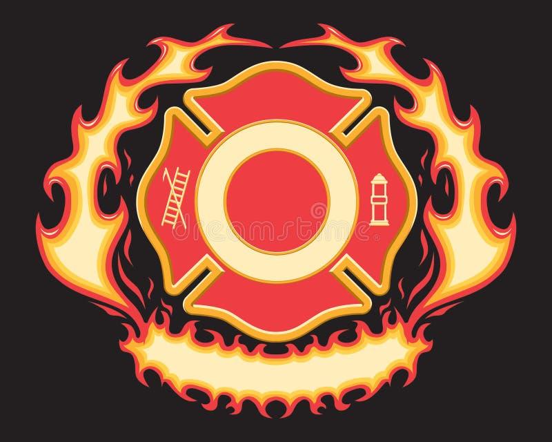 Símbolo cruzado del bombero con la bandera llameante stock de ilustración