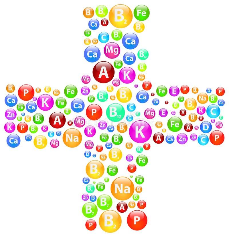 Símbolo cruzado médico con las vitaminas y los minerales stock de ilustración