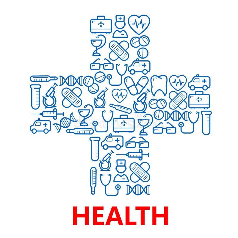 Símbolo cruzado médico hecho de iconos azules de la medicina ilustración del vector