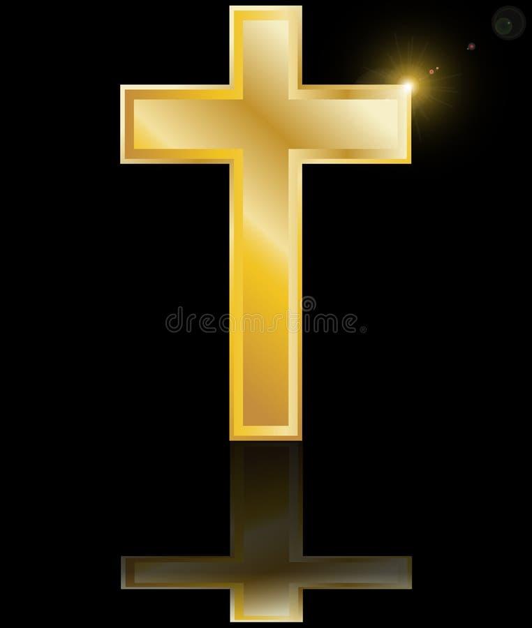 Símbolo cruzado santo de la fe cristiana en un blac ilustración del vector