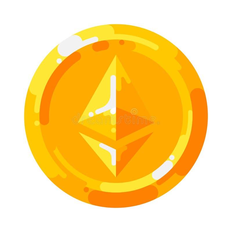 Símbolo crypto del blockchain de la moneda de la moneda de oro de Ethereum aislado en el fondo blanco libre illustration