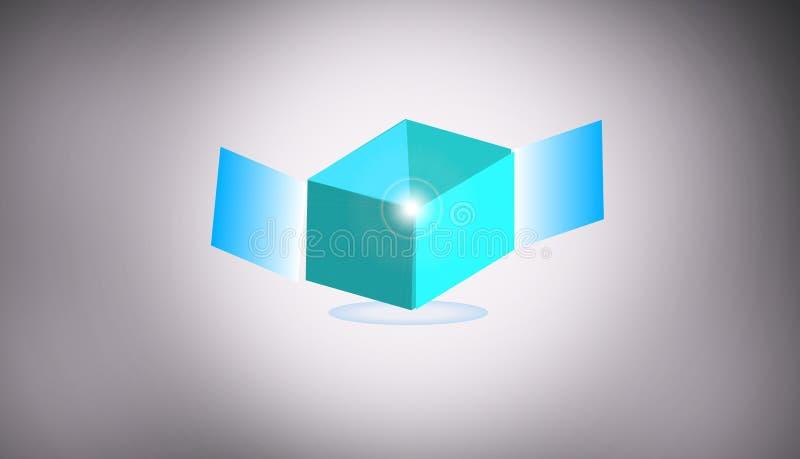 Símbolo 3d de flutuação home da arquitetura ilustração royalty free