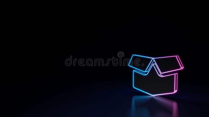 símbolo 3d de néon de incandescência do símbolo de aberto da caixa isolado no fundo preto ilustração royalty free