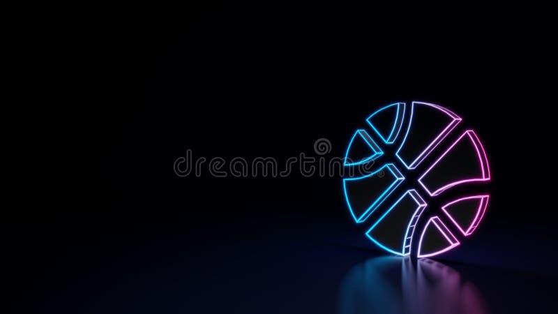 símbolo 3d de néon de incandescência do símbolo da bola do basquetebol isolado no fundo preto ilustração royalty free