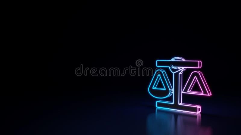 símbolo 3d de néon de incandescência do símbolo da escala do equilíbrio isolado no fundo preto ilustração do vetor