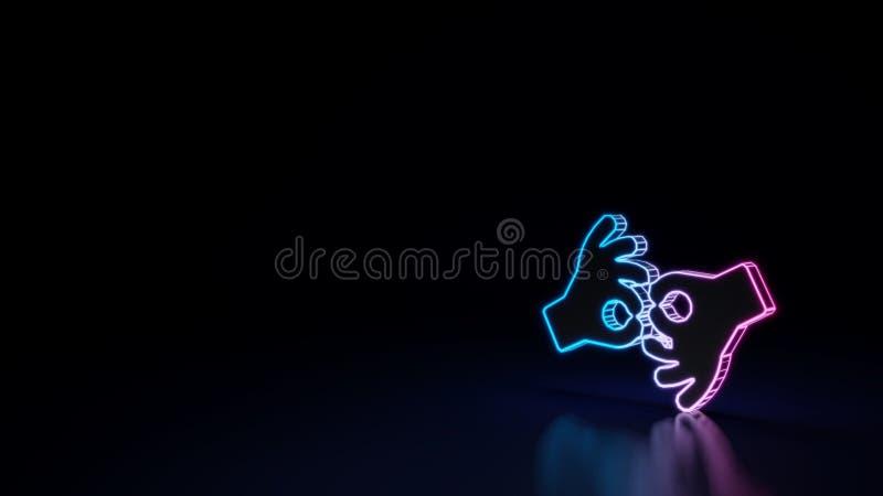 símbolo 3d de néon de incandescência do símbolo da interpretação americana da linguagem gestual isolada no fundo preto ilustração royalty free