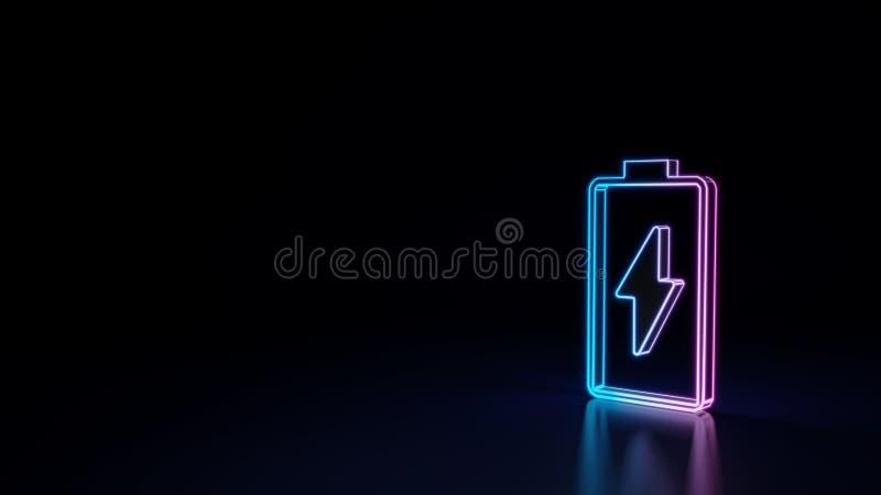 símbolo 3d de néon de incandescência do símbolo vertical de carregar a bateria vazia isolada no fundo preto ilustração royalty free