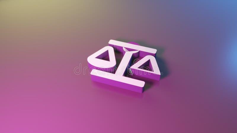s?mbolo 3d del icono de la escala de la balanza rendir stock de ilustración