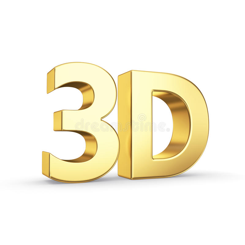 Símbolo 3D dourado isolado no branco ilustração stock