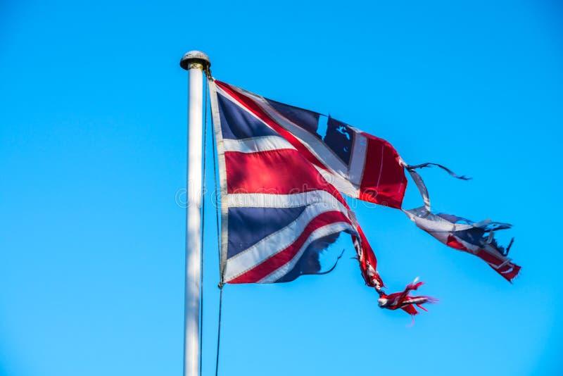 Símbolo dañado de Jack Flag de la unión de la disonancia dentro de Reino Unido sobre Brexit foto de archivo libre de regalías