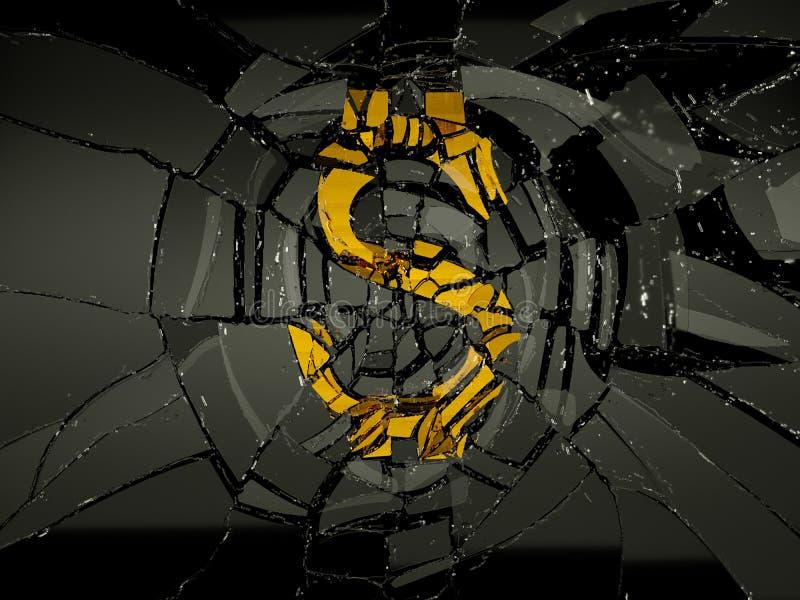 Símbolo dañado del dólar de EE. UU. sobre el vidrio negro stock de ilustración