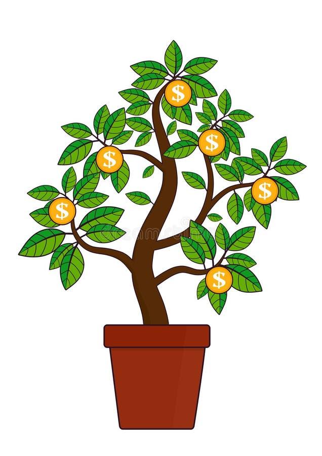 Símbolo da árvore do dinheiro da riqueza e da abundância ilustração do vetor