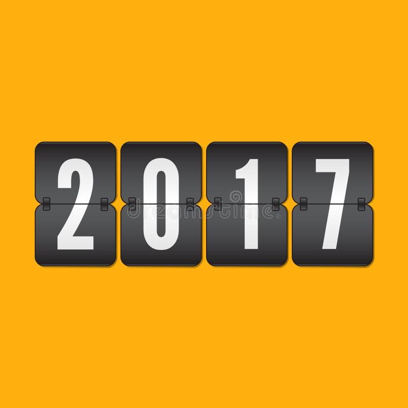 Símbolo 2017 da aleta das felicitações do ano novo feliz no backgro amarelo ilustração royalty free