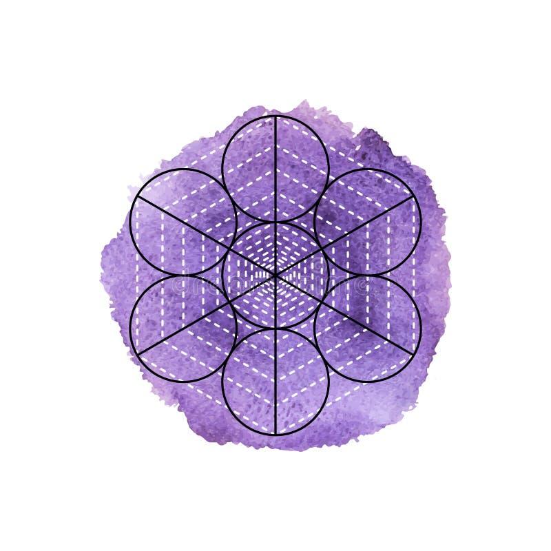 Símbolo da alquimia e da geometria sagrado no fundo violeta da aquarela ilustração royalty free