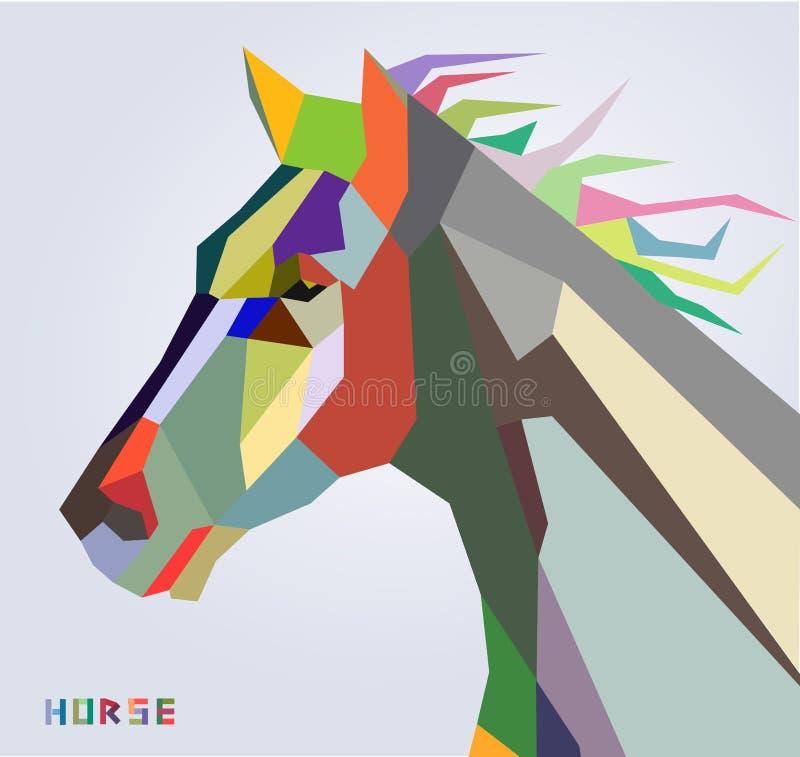 Símbolo da cabeça de cavalo do estilo na moda do ano novo 2014  ilustração royalty free
