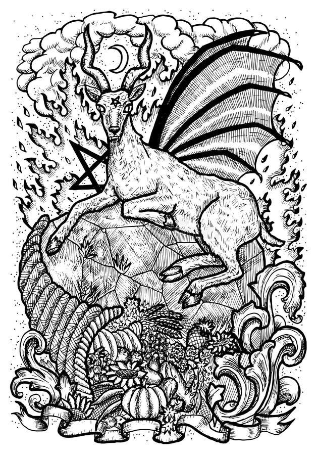 Símbolo da cabra com o chifre da abundância, do fogo do inferno e do sinal diabólico - pentagram ilustração stock