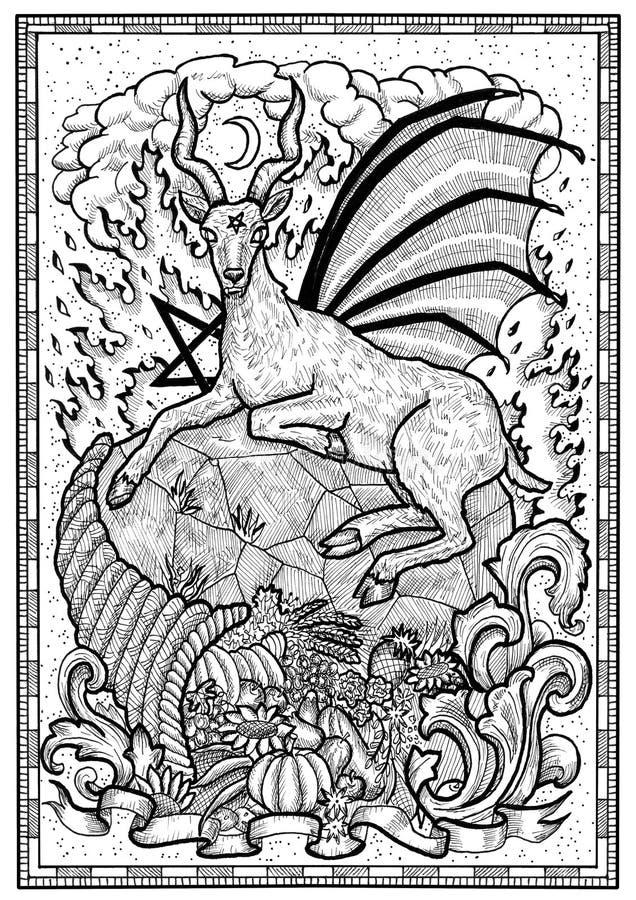 Símbolo da cabra com o chifre da abundância, o fogo do inferno e sinal diabólico - pentagram no quadro ilustração stock