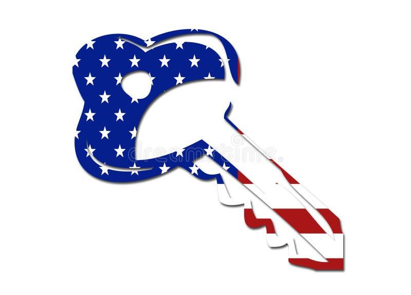 Símbolo da chave da bandeira dos E.U. ilustração do vetor