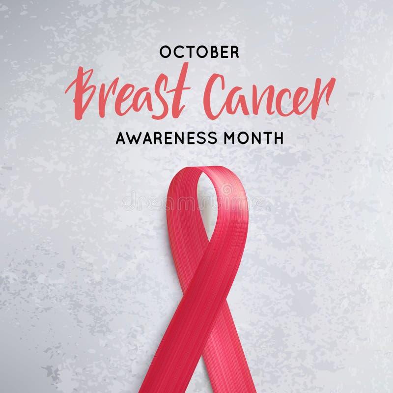 Símbolo da consciência do cancro da mama Fita cor-de-rosa realística do vetor com rotulação ilustração royalty free