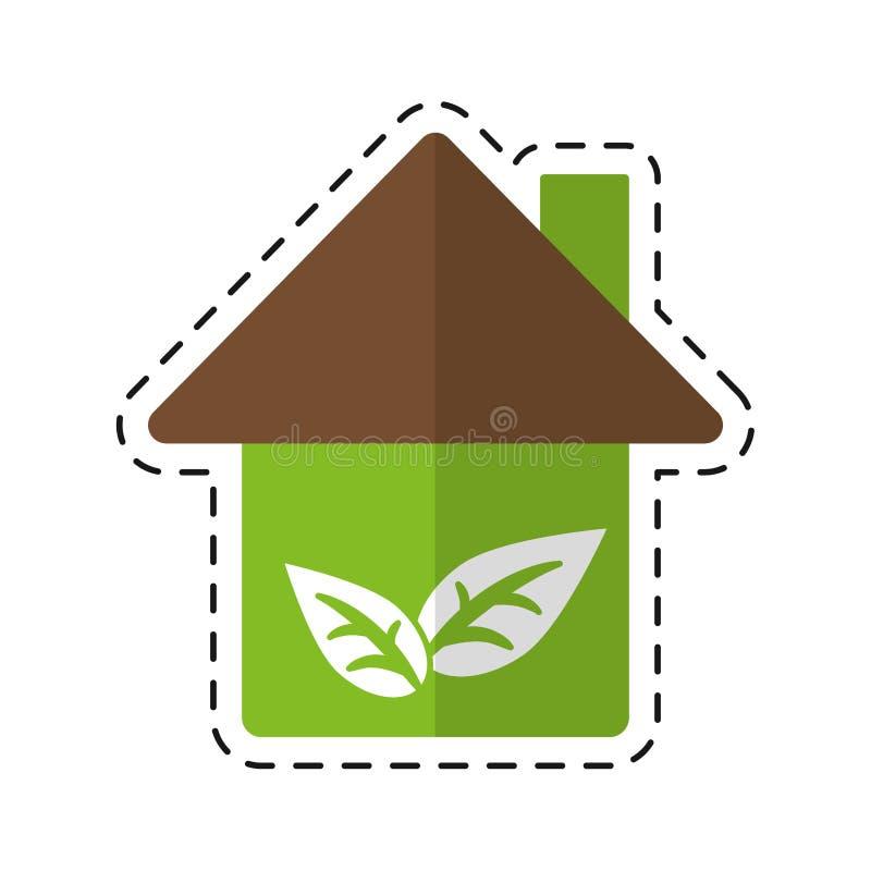 Símbolo da construção da ecologia da casa do ambiente - pontilhe a linha ilustração stock